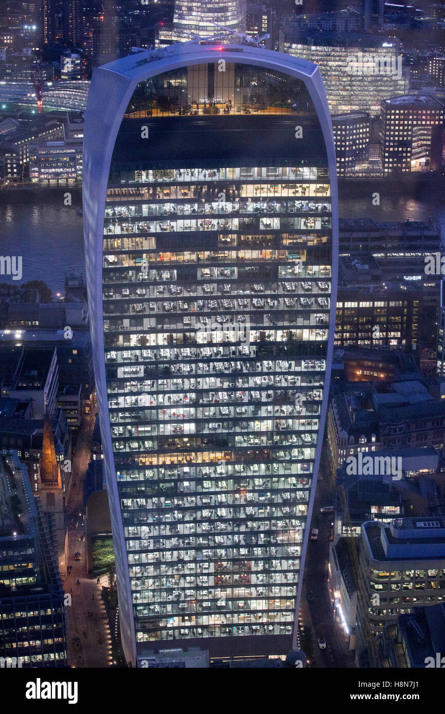 View of 20 Fenchurch Street (walkie-talkie) building, Fenchurch Street, City of London, London, England, United - Stock Image