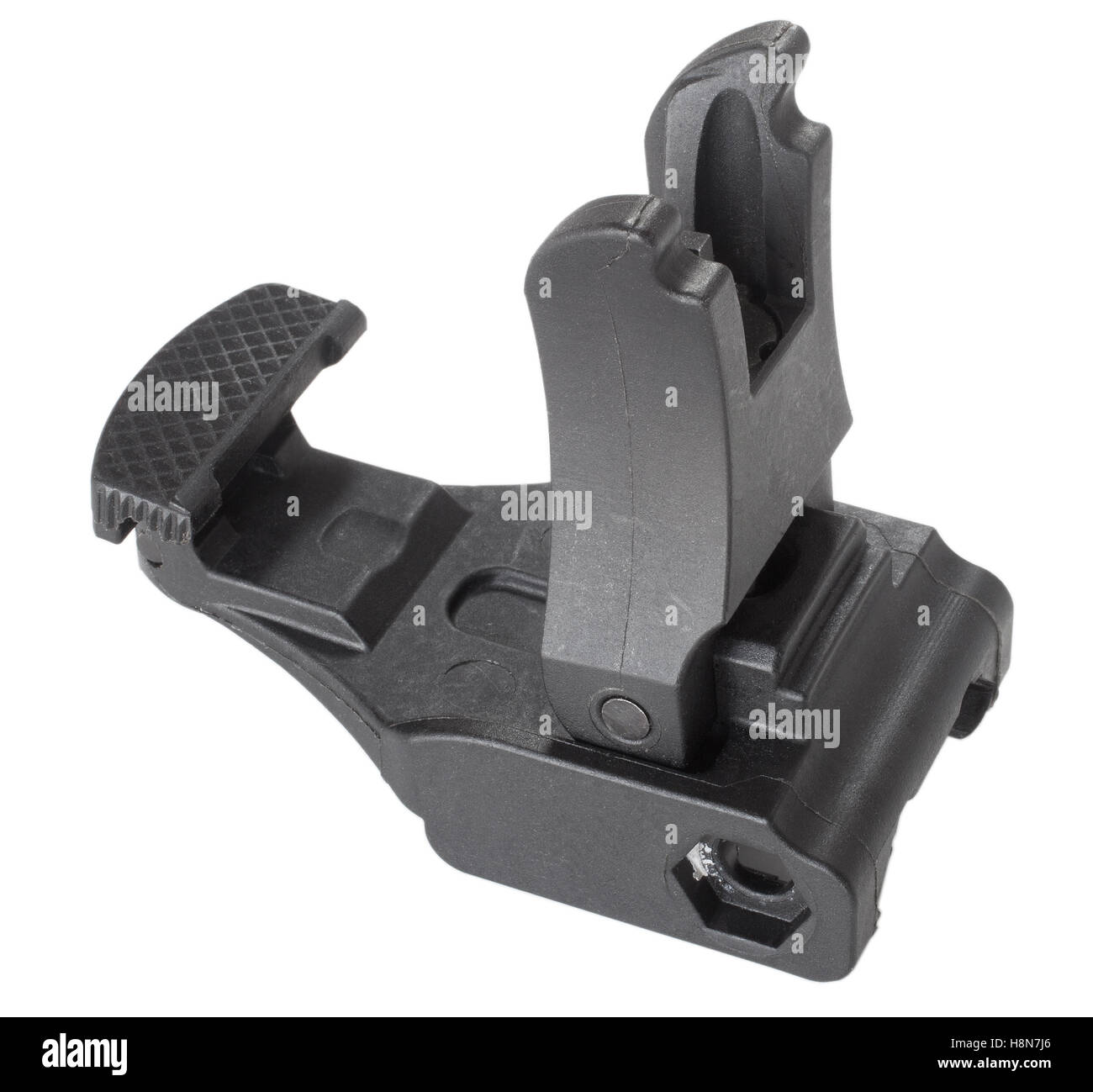 Front sights for a semi automatic rifle that are upright on white - Stock Image