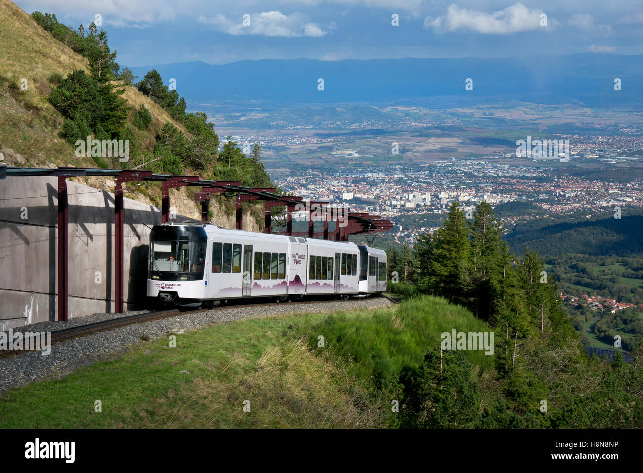 electric funicular panoramic railway on Puy de Dome summit, Auvergne,France - Stock Image