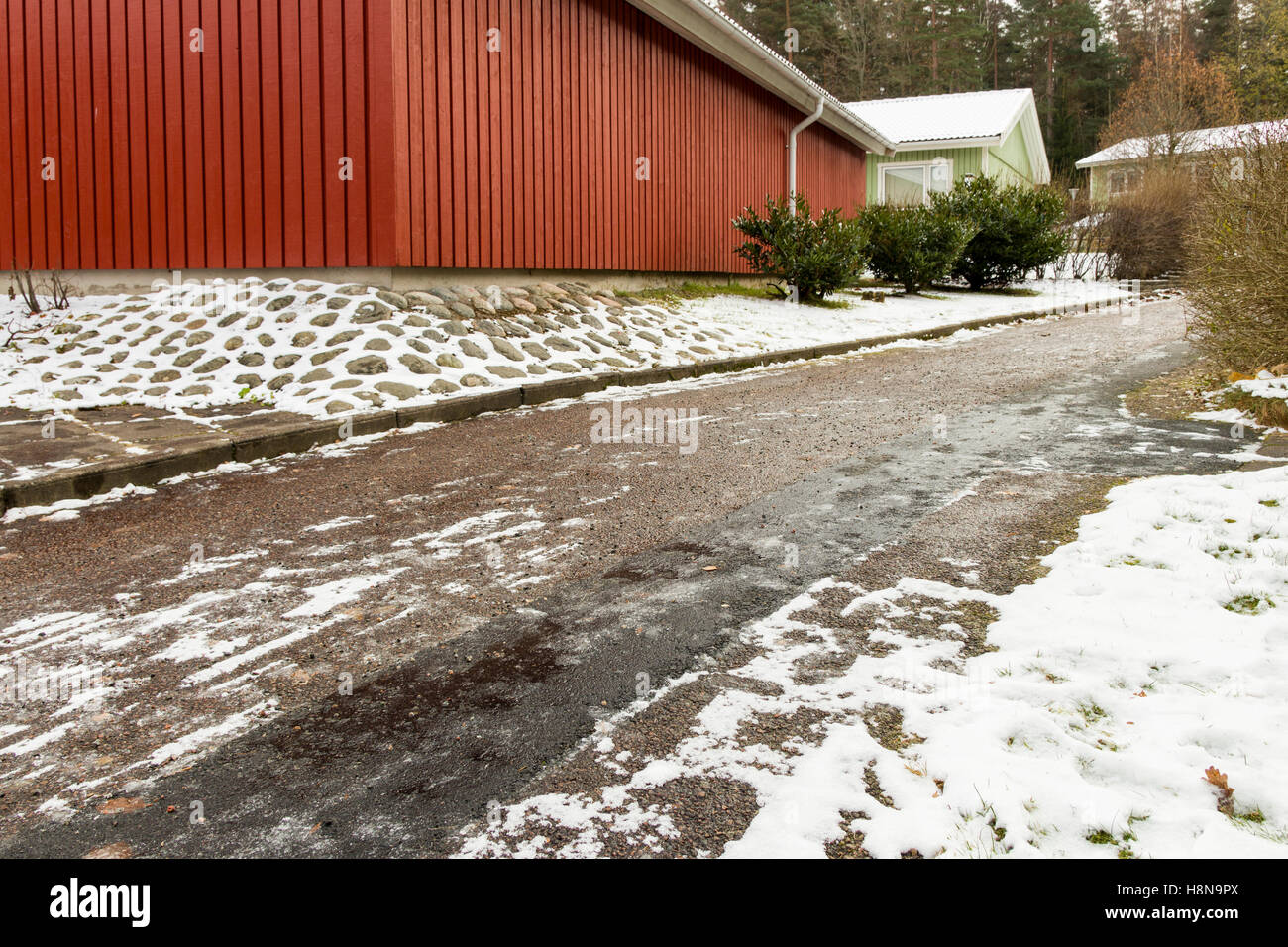 Icy and slippery pedestrian walkway /side walk during winter  Model Release: No.  Property Release: No. - Stock Image