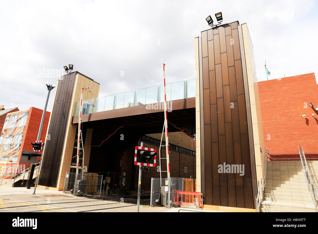 Lincoln city new footbridge over rail line level crossing bridge Lincolnshire access over railway line UK England - Stock Image
