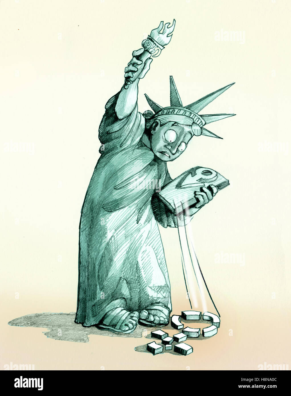 The Statue of Liberty looks shocked the woman's symbol that has dropped on the ground and that is now broken - Stock Image