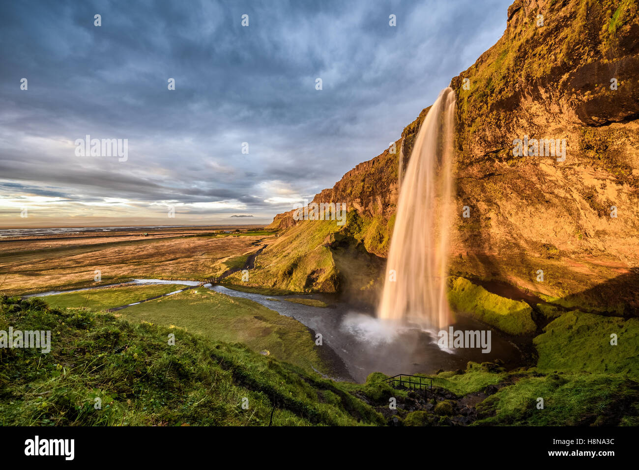 Seljalandsfoss Waterfall in Iceland at sunset. Hdr processed. - Stock Image