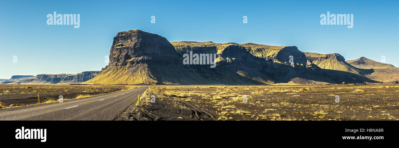 Scenic landscape with the famous ring road in Iceland - Stock Image