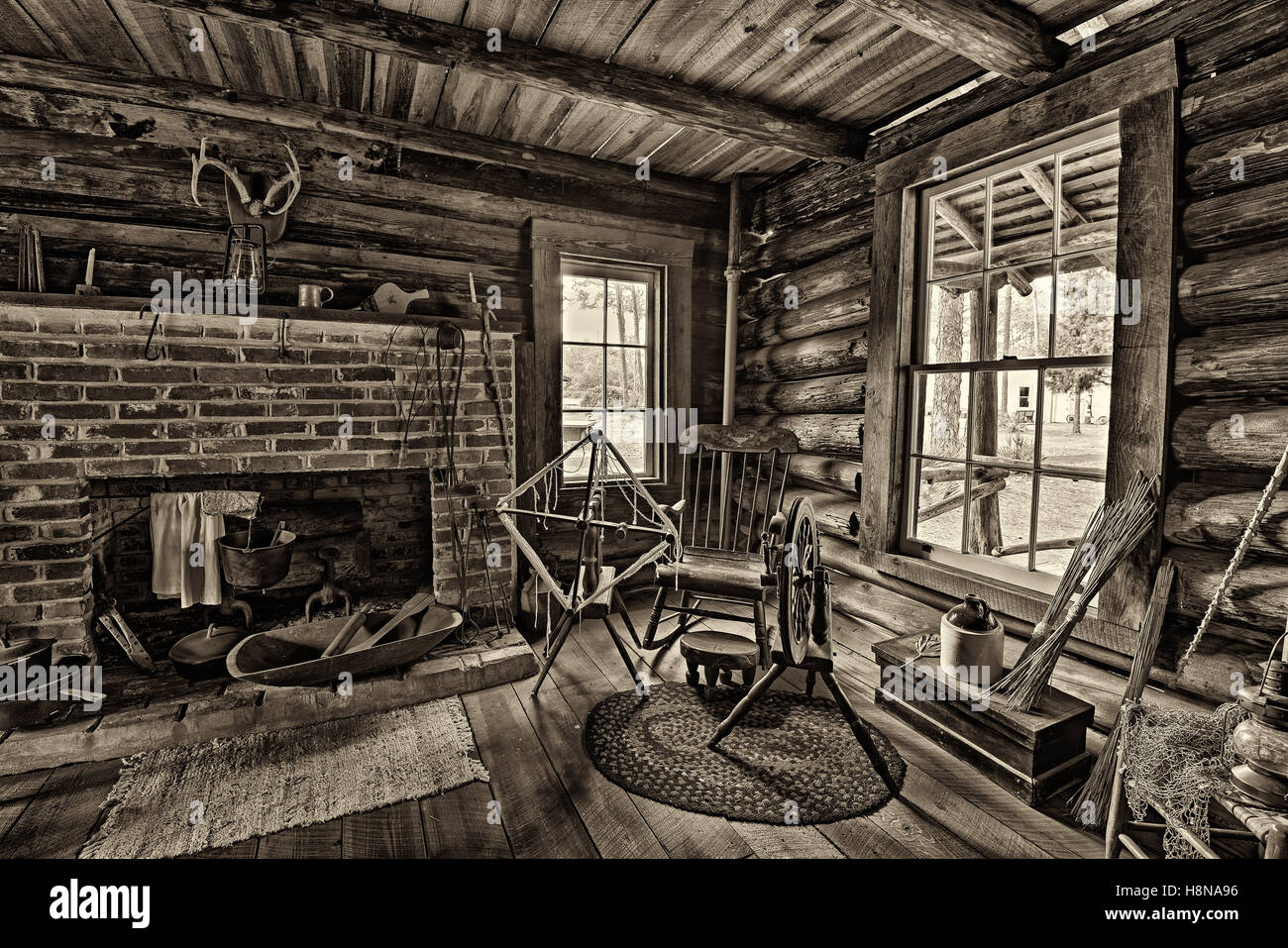 Interior of the historic McMullen-Coachman Log House in the Pinellas County Heritage Village. - Stock Image