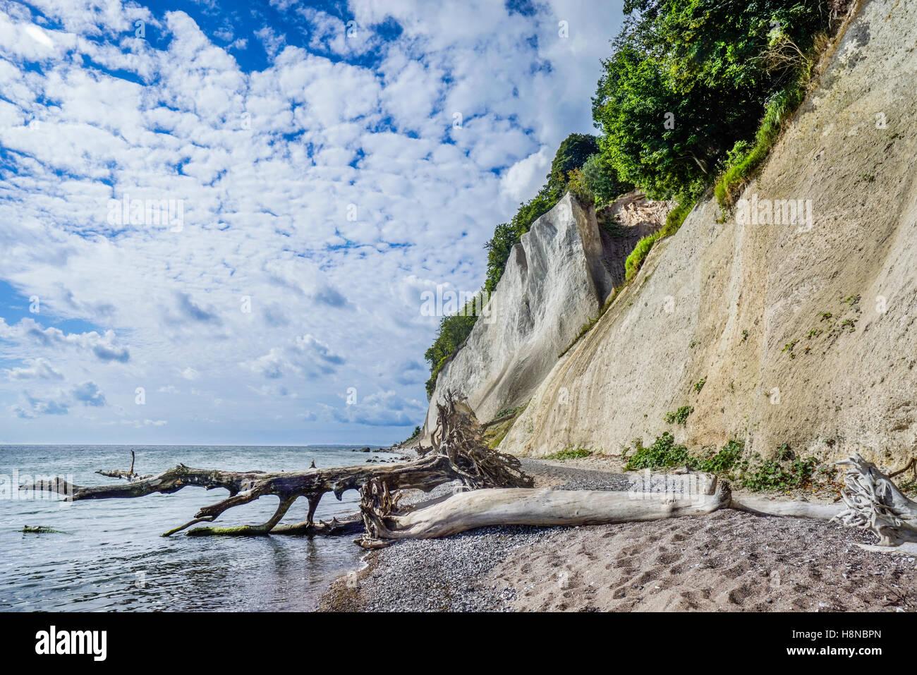chalk cliff coast at Jasmund National Park, near Königsstuhl (King's Chair), island of Rügen, Mecklenburg-Vorpommern, Stock Photo