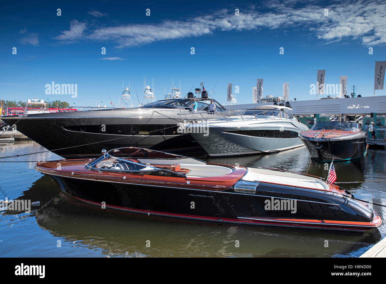 Riva boats at Fort Lauderdale Boat Show Stock Photo