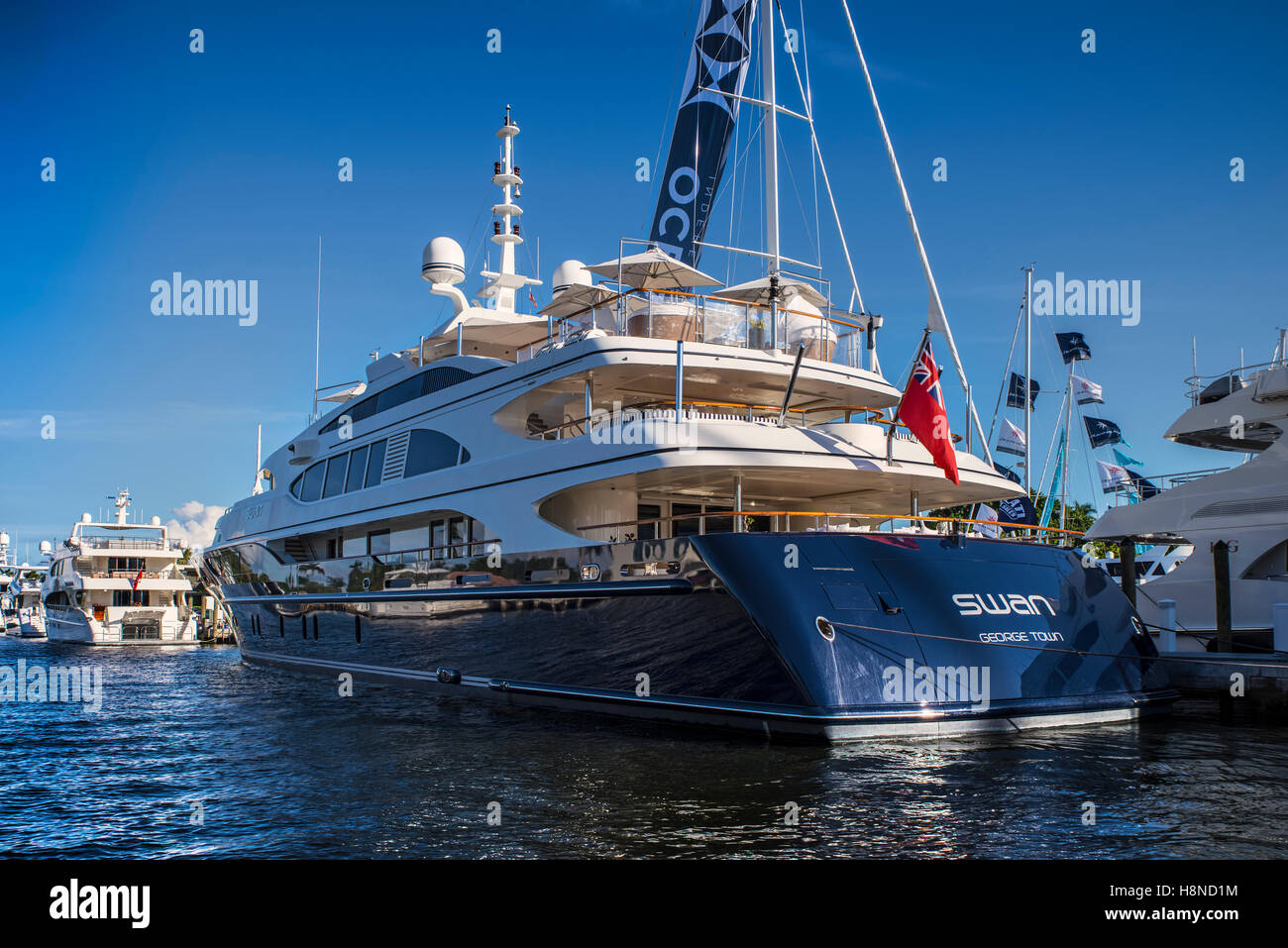 Superyacht Swan at Fort Lauderdale Boat Show Stock Photo