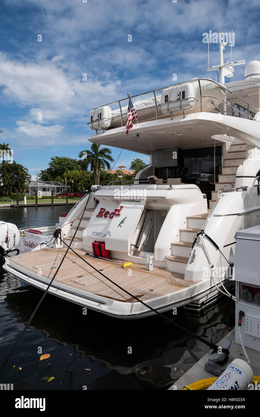 Superyacht Stern at the Fort Lauderdale Boat Show Stock Photo