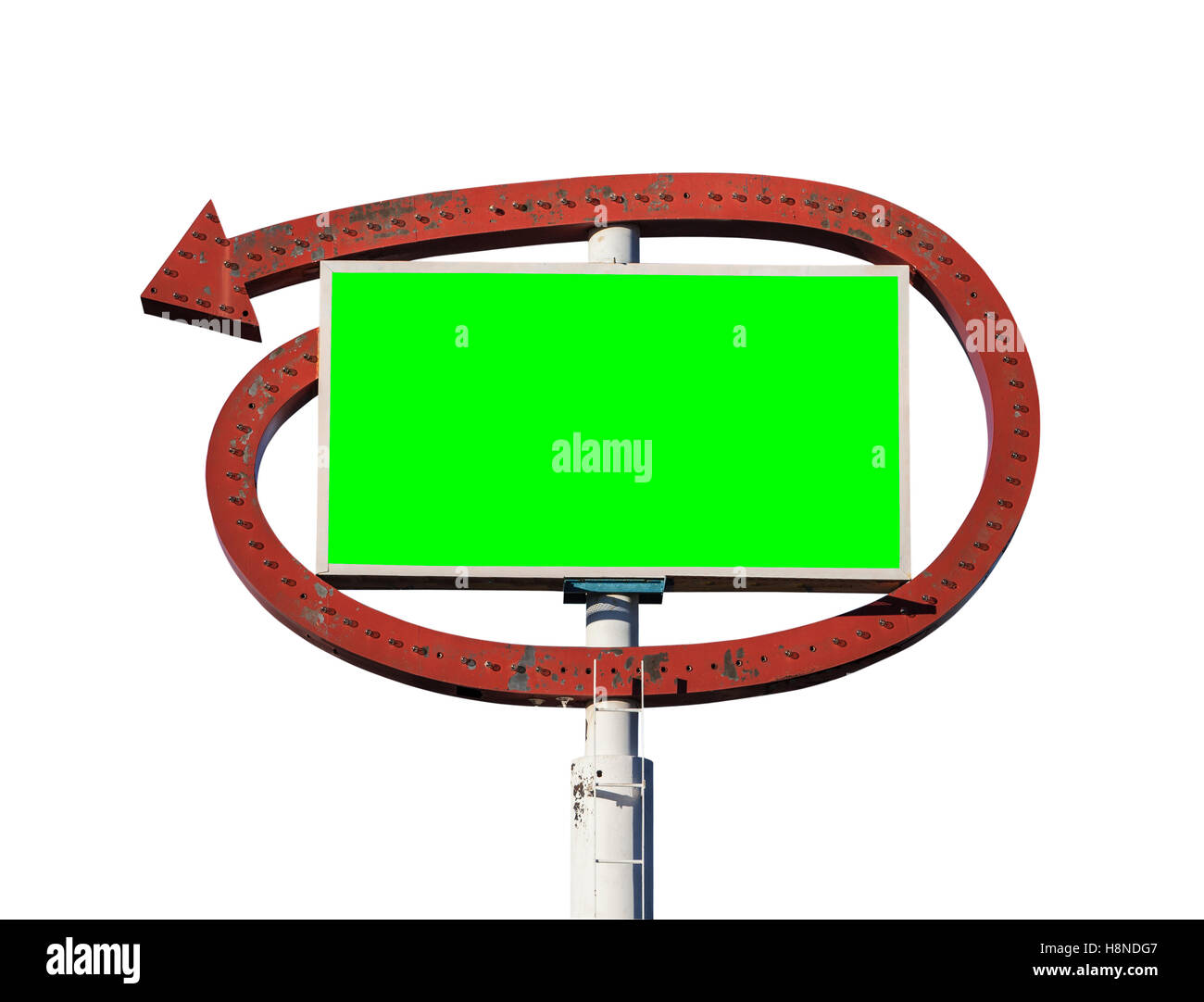 Vintage arrow sign with chroma key green insert isolated on white. - Stock Image