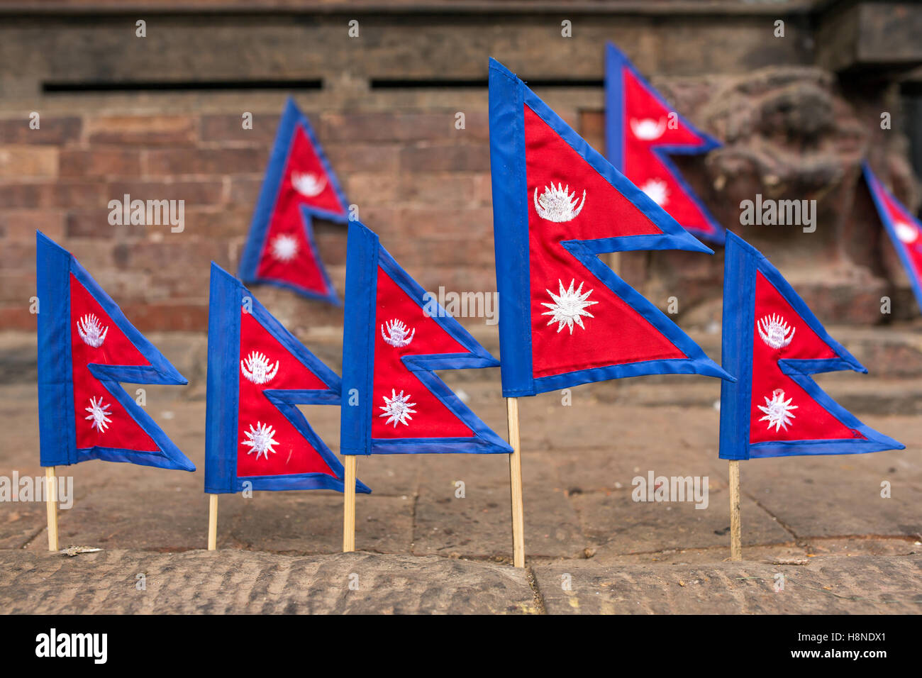 Small Nepal flag for sale in Kathmandu, Nepal Stock Photo