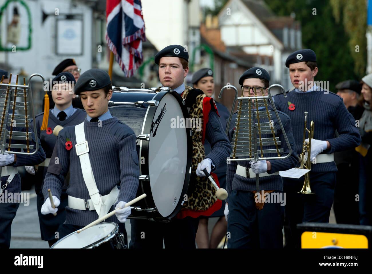 An air cadets band at the Stratford-upon-Avon Remembrance Sunday parade, Warwickshire, England, UK - Stock Image