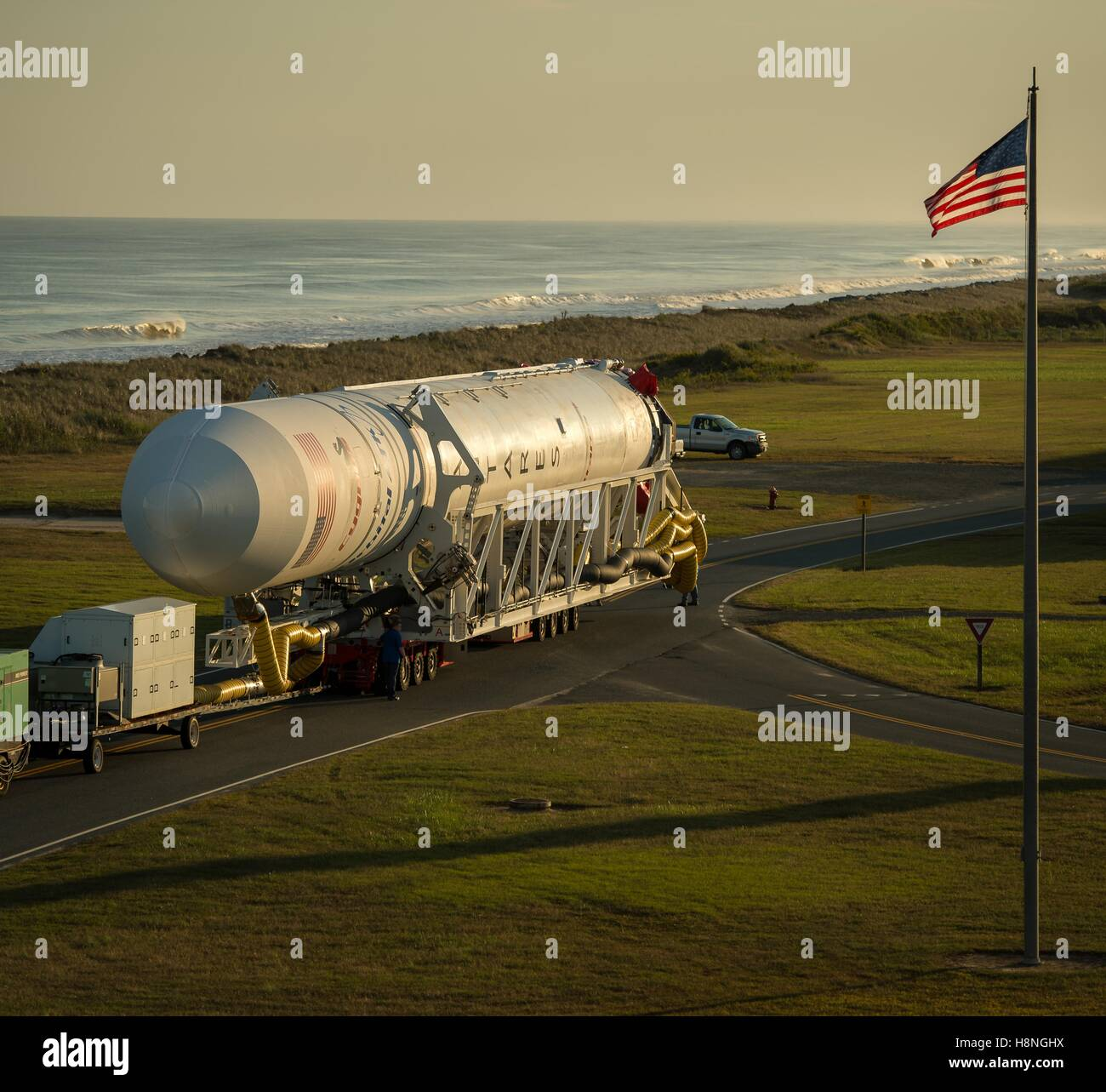 The Orbital ATK Antares rocket, with the Cygnus spacecraft onboard, is transported from the NASA Wallops Flight Stock Photo