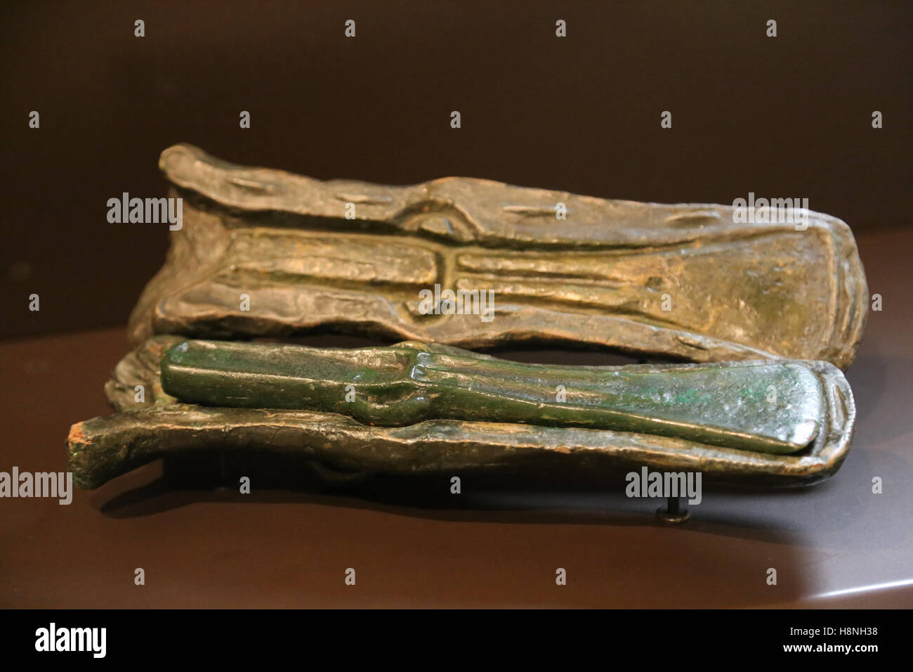 Bronze age. Mold. Replica. Spain. National Archaeological Museum, Madrid. Spain. - Stock Image