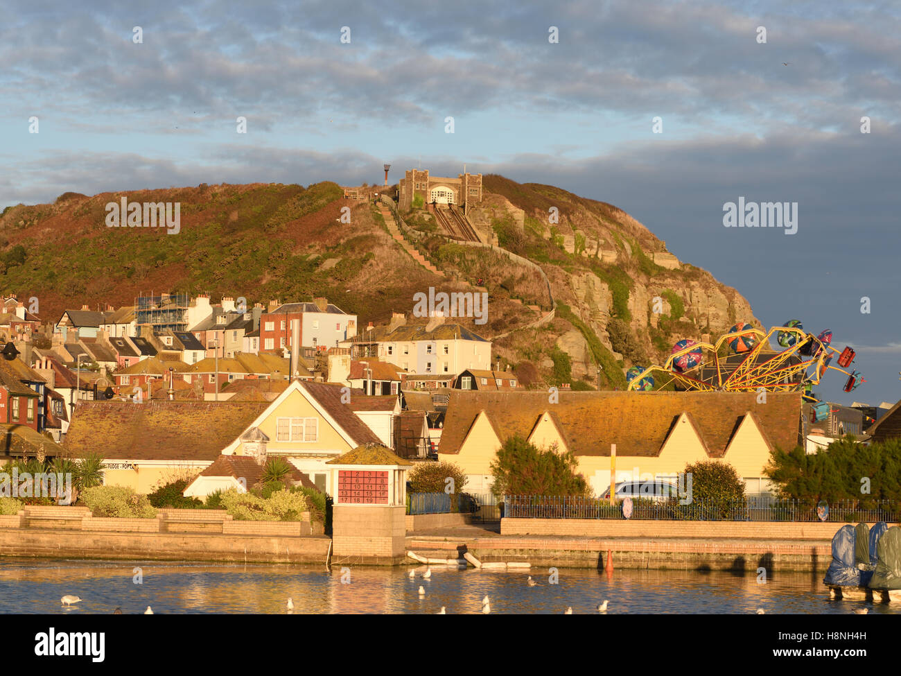 Hastings Old Town, the amusement park, Rock-A-Nore and the East Hill Cliff Railway or East Hill Lift, the  funicular - Stock Image