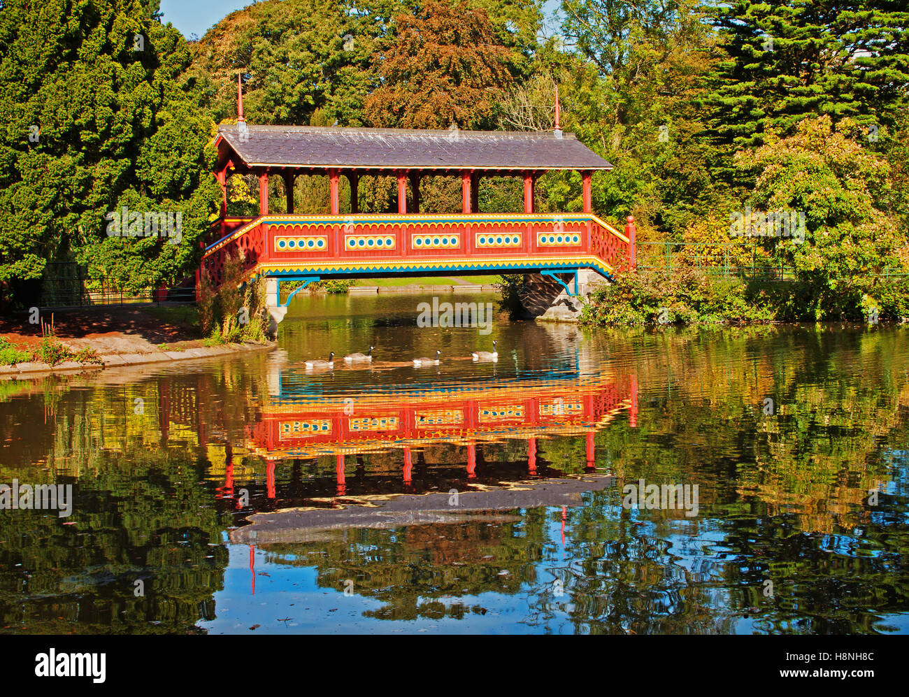 Reflections of the Swiss Bridge - Stock Image