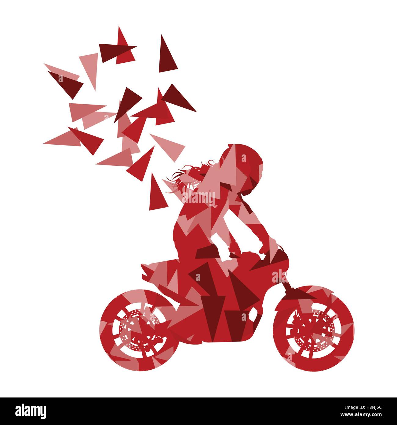 Motorcyclist performed extreme stunts driver vector abstract background illustration made of polygon fragments isolated - Stock Vector