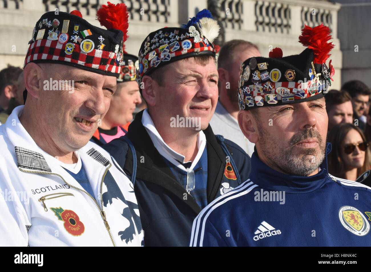 Scottish Football Fans,Armistice Day,The Royal British Legion,Silence in the Square,Trafalgar Square,London.UK - Stock Image