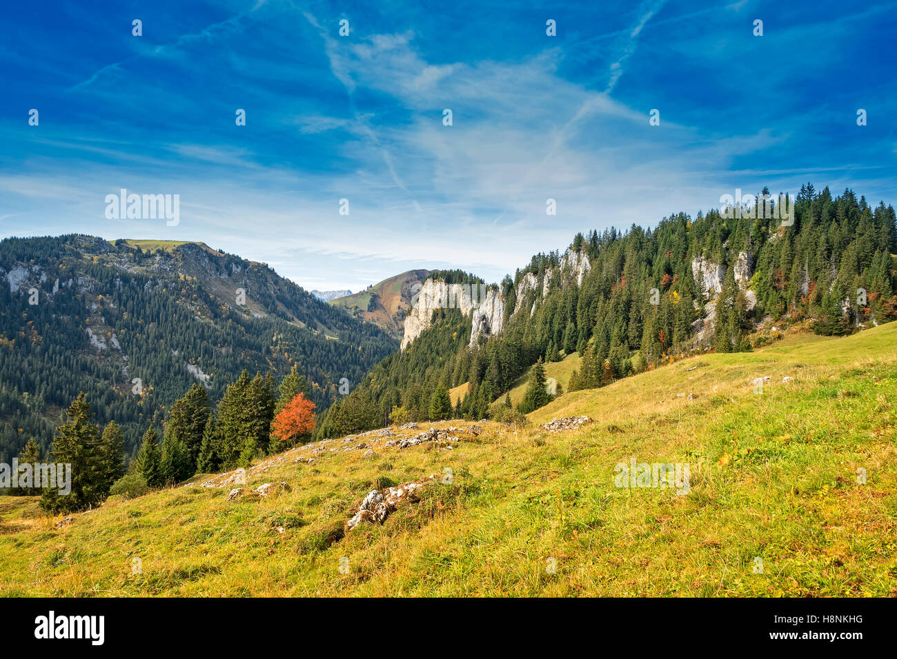 View over rural alpine mounlandscape in fall, Austrian alps, Zillertal Stock Photo