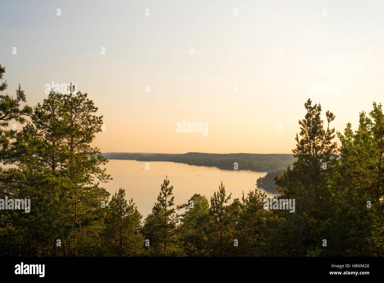 Lake at sunset - Stock Image