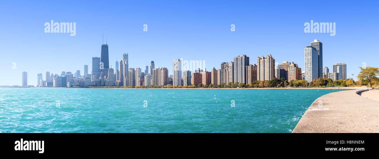 Chicago city skyline, panoramic morning view over Lake Michigan, USA. - Stock Image