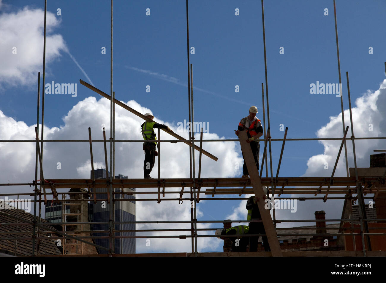 Workmen and scaffolding. Demolition of Palatine Buildings + former Palatine Hotel, Victoria Street, city centre, - Stock Image