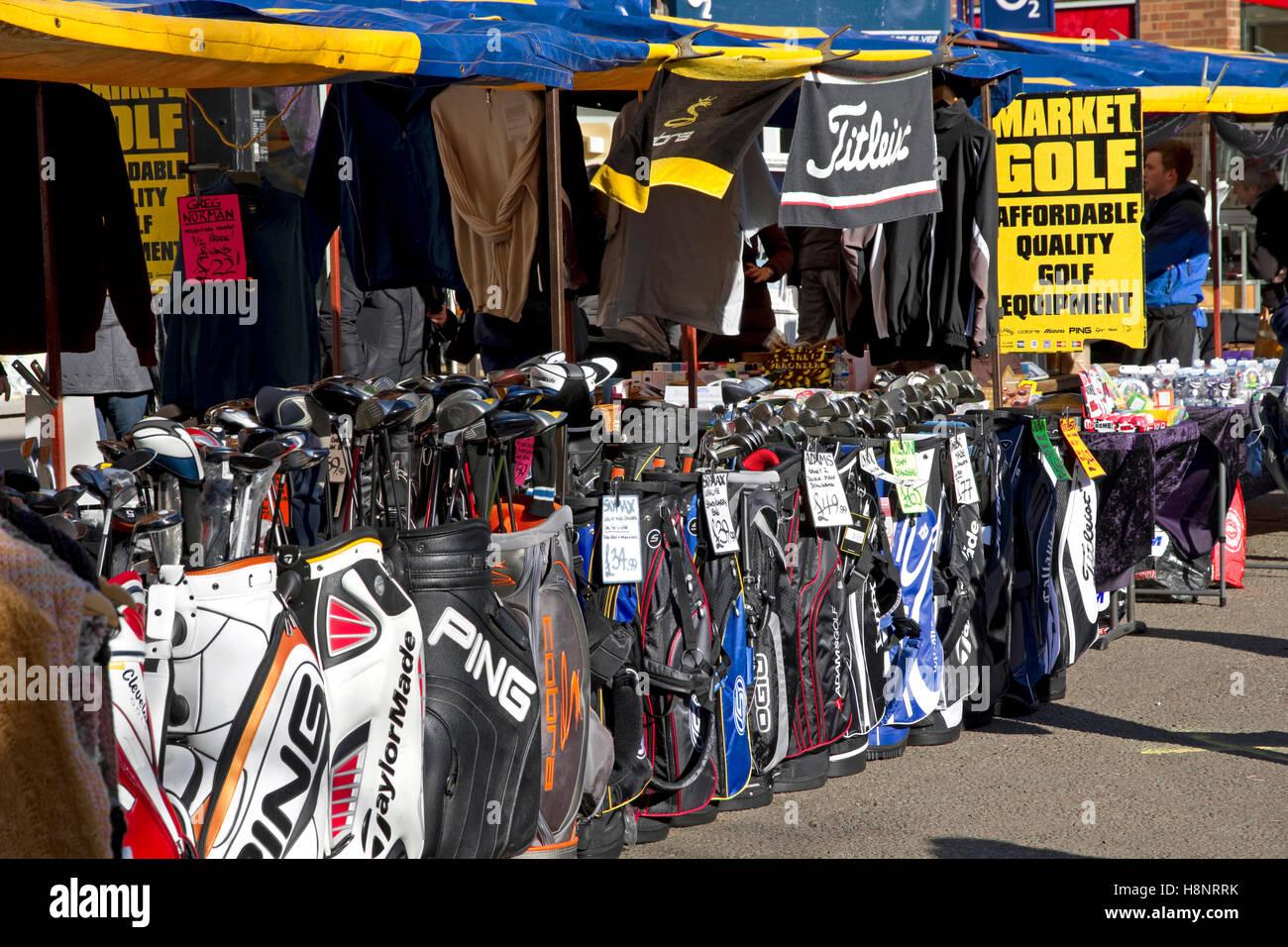 Golf equipment stall at St Albans Market, St Peters Street, St Albans, Hertfordshire, England, UK - Stock Image