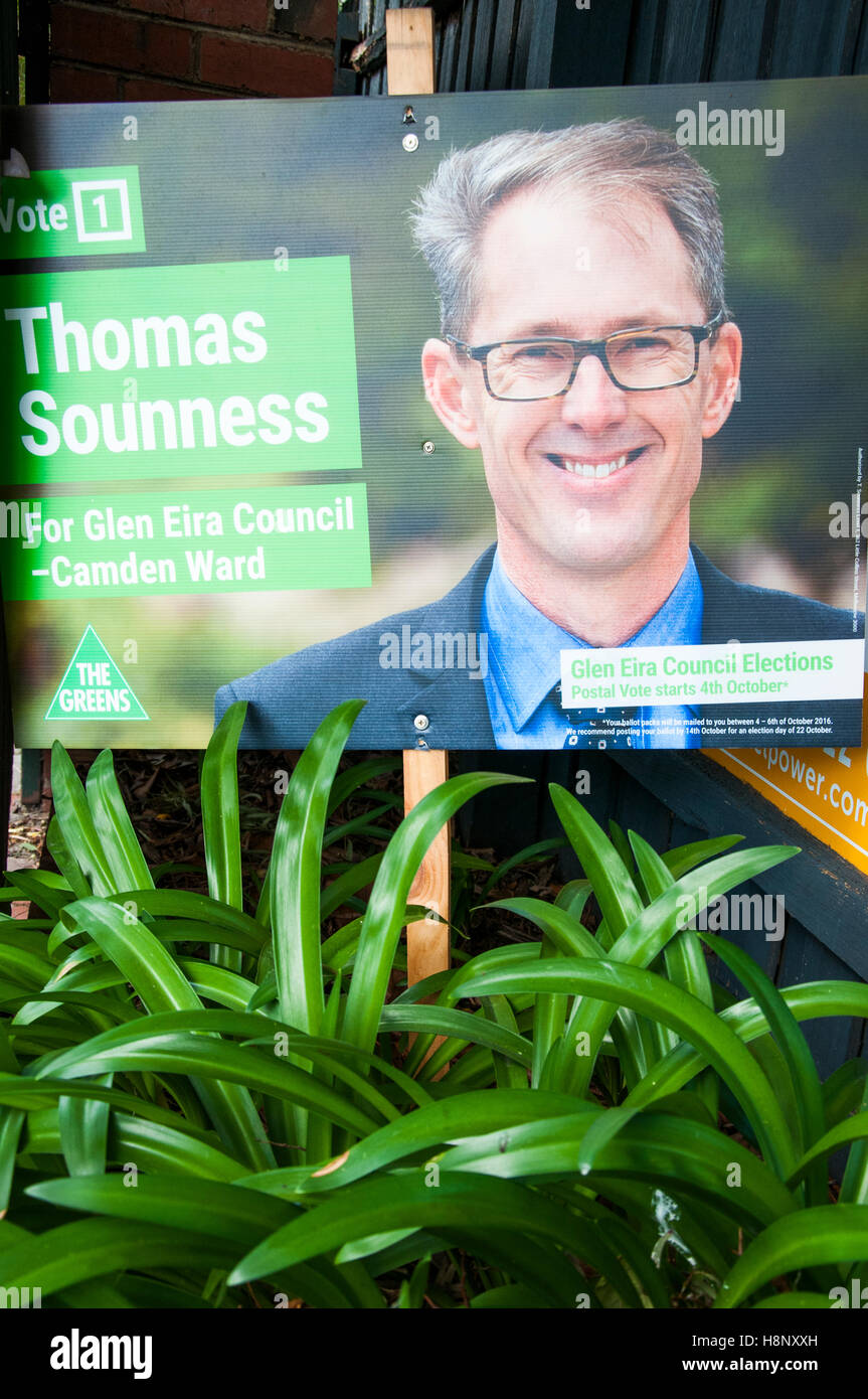 Greens candidate's campaign placard for local government elections in Melbourne, Australia, October 2016 - Stock Image