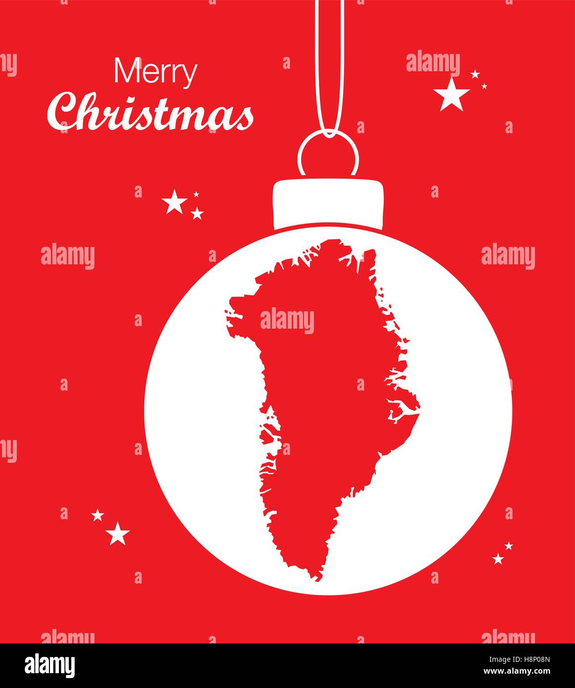 Christmas In Greenland.Merry Christmas Illustration Theme With Map Of Greenland
