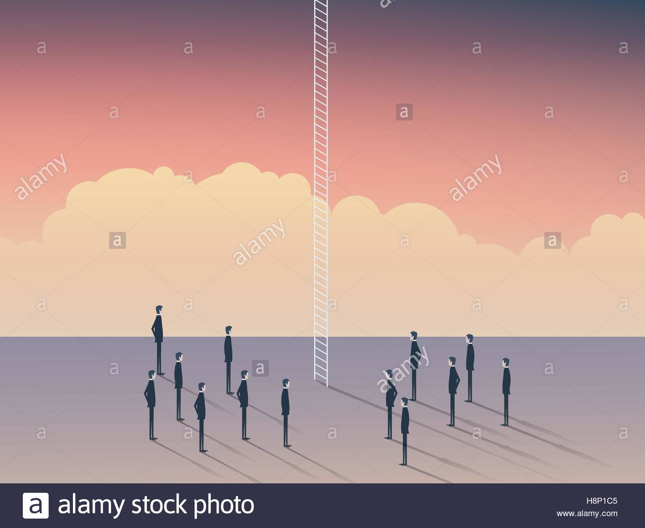 Business and career opportunities, corporate ladder. Businessmen standing to climb above clouds, sky is the limit. - Stock Vector