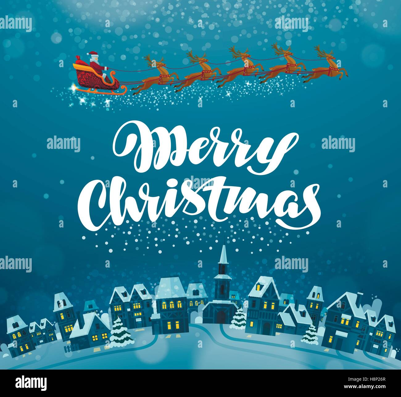 Merry Christmas Xmas Greeting Card Vector Illustration Stock Vector