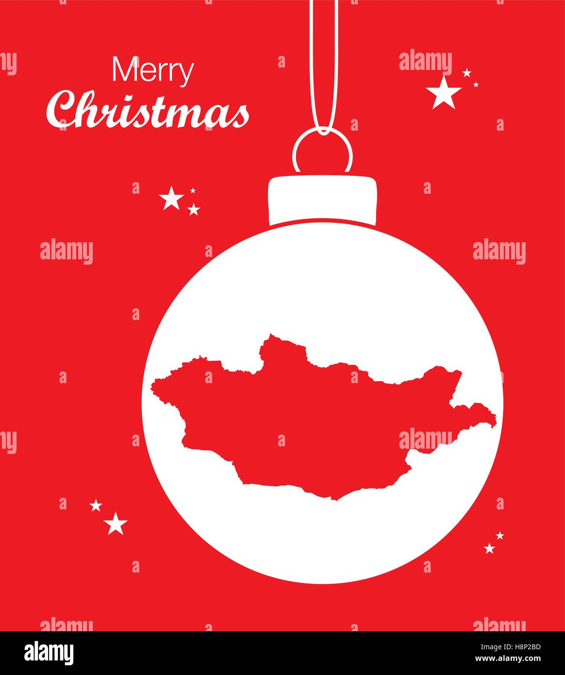 Merry Christmas illustration theme with map of Mongolia - Stock Vector