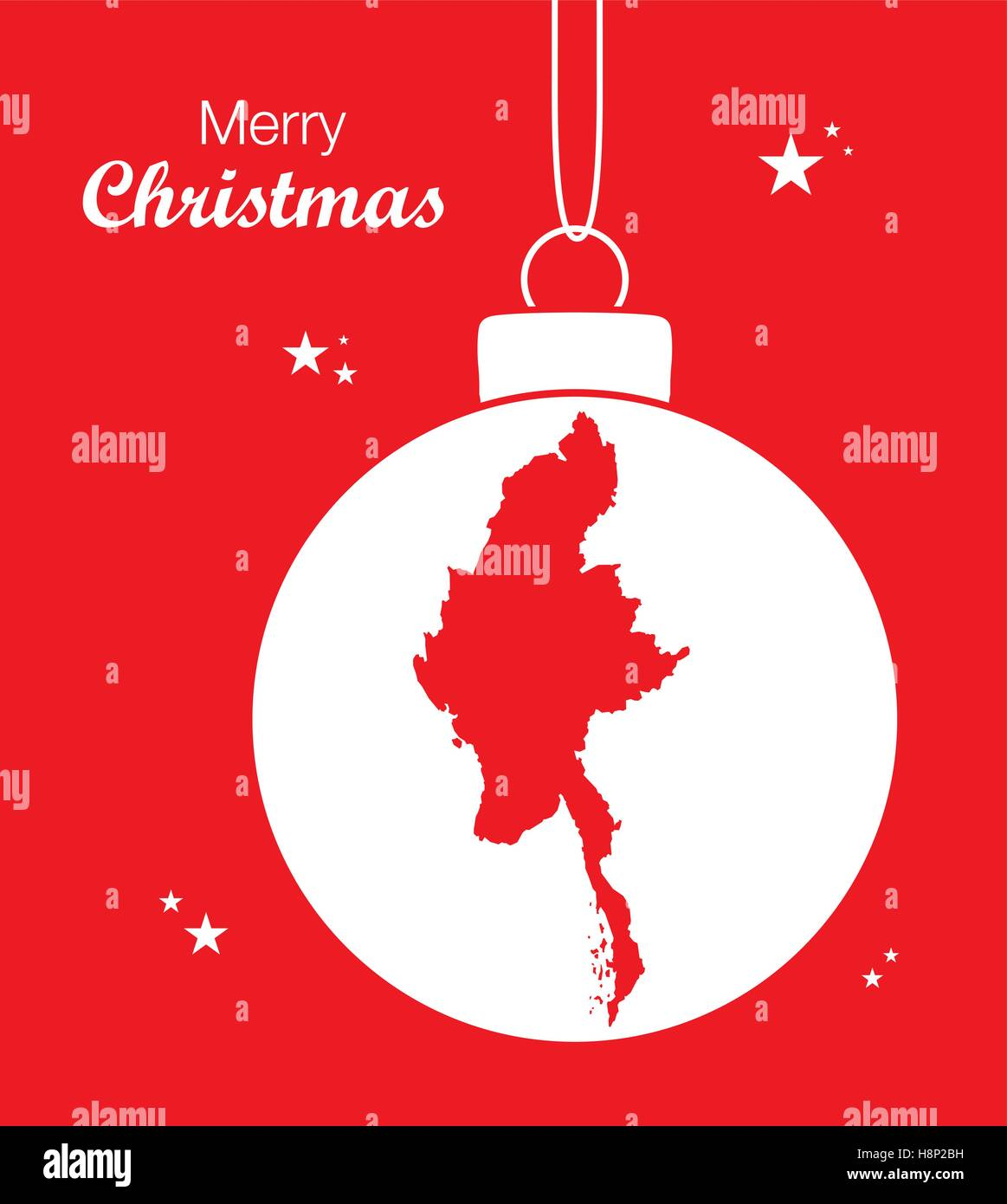 Merry Christmas illustration theme with map of Myanmar - Stock Vector