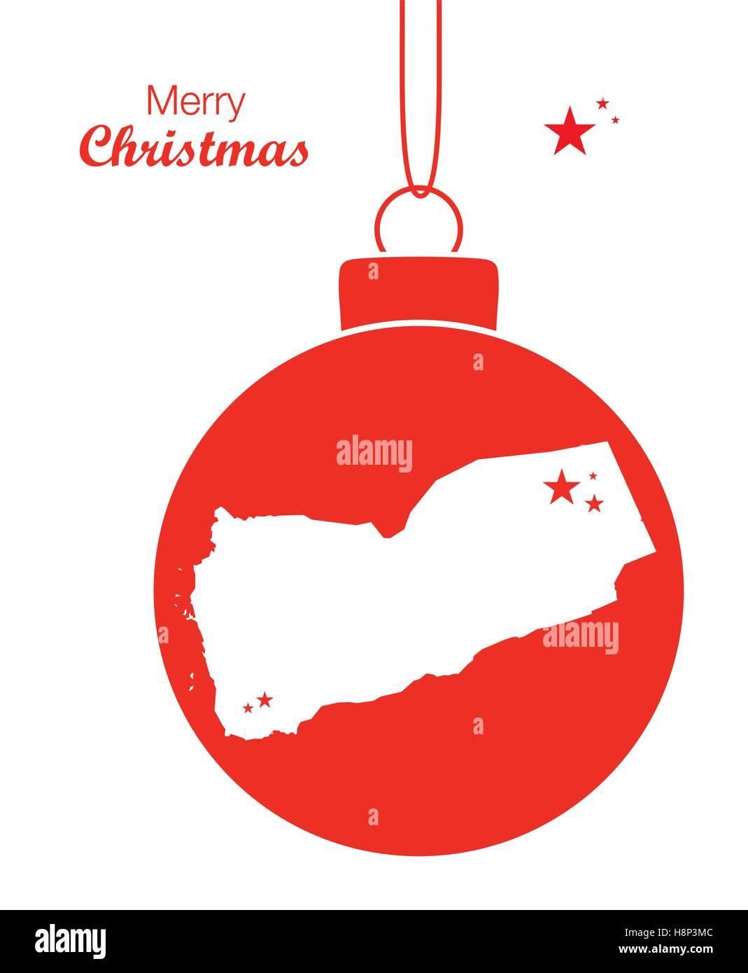 Merry Christmas illustration theme with map of Yemen - Stock Image