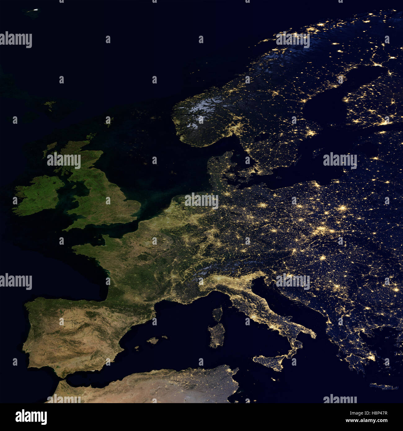 City lights on world map europe stock photo 125876123 alamy city lights on world map europe gumiabroncs Image collections