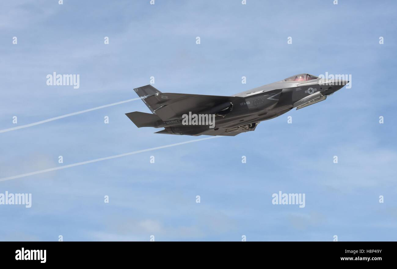 An F-35C Lightning II stealth multirole fighter aircraft takes off from Boca Chica Field at the Naval Air Station - Stock Image
