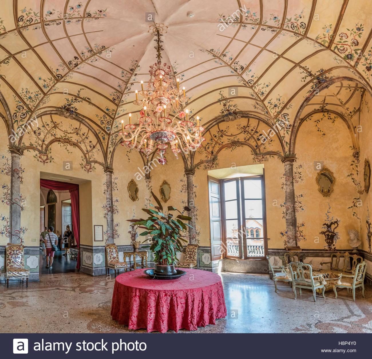 Livingroom at Palazzo Madre on Isola Madre, Lago Maggiore, Piedmont, Italy | Wohnzimmer im Palazzo Madre auf der - Stock Image