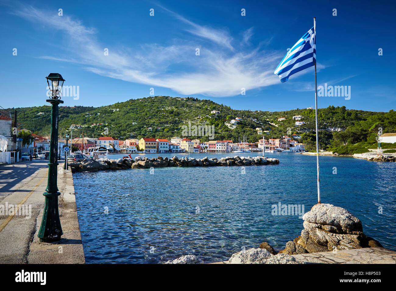 Greek flag at the port. Islands of Paxos Greece. - Stock Image
