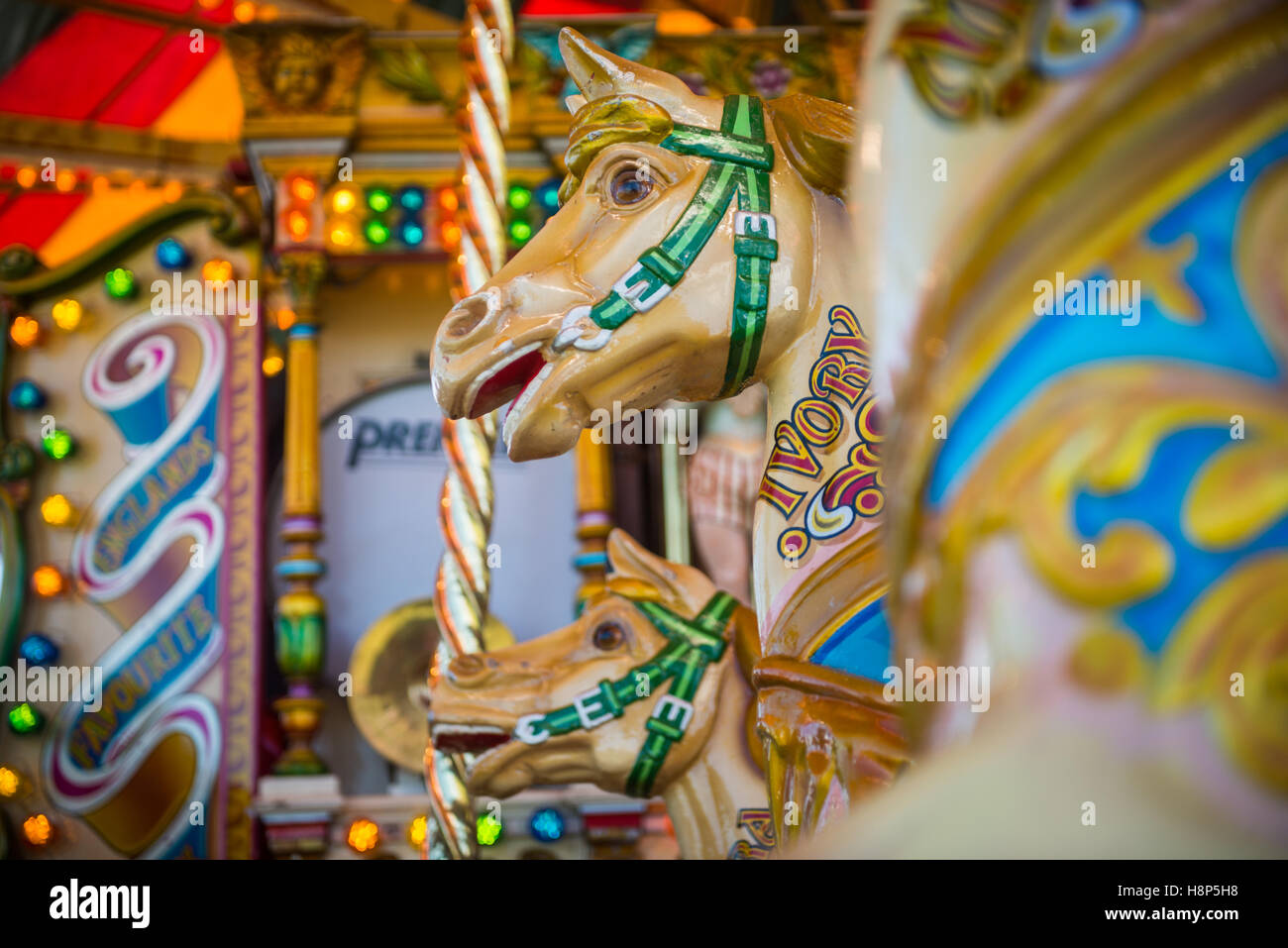 England, Yorkshire - Fair organs (carousel) being shown at the Masham Steam Rally, an antique show for old tractors, - Stock Image