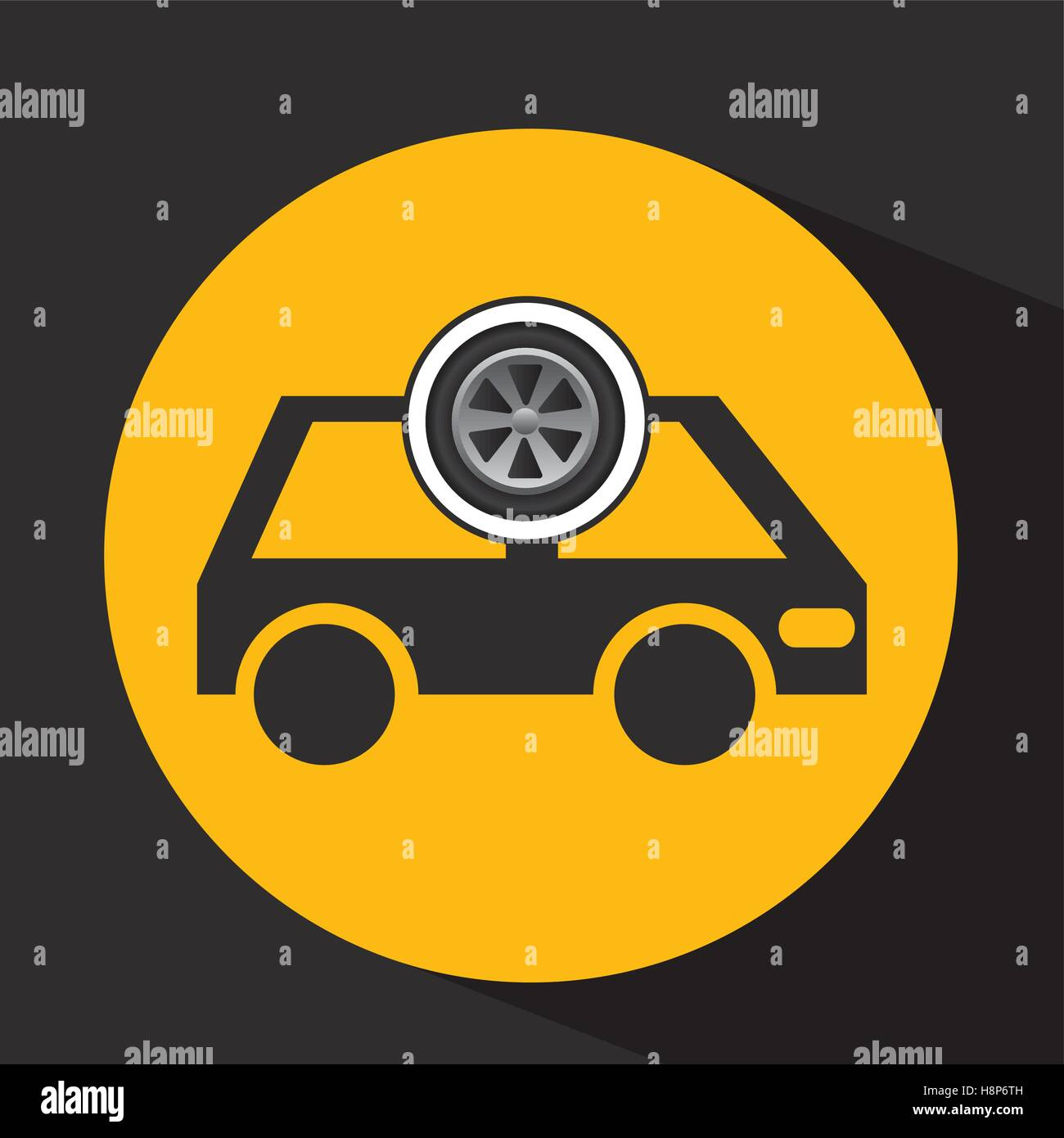 cartoon van car wheel icon design vector illustration eps 10 Stock Vector