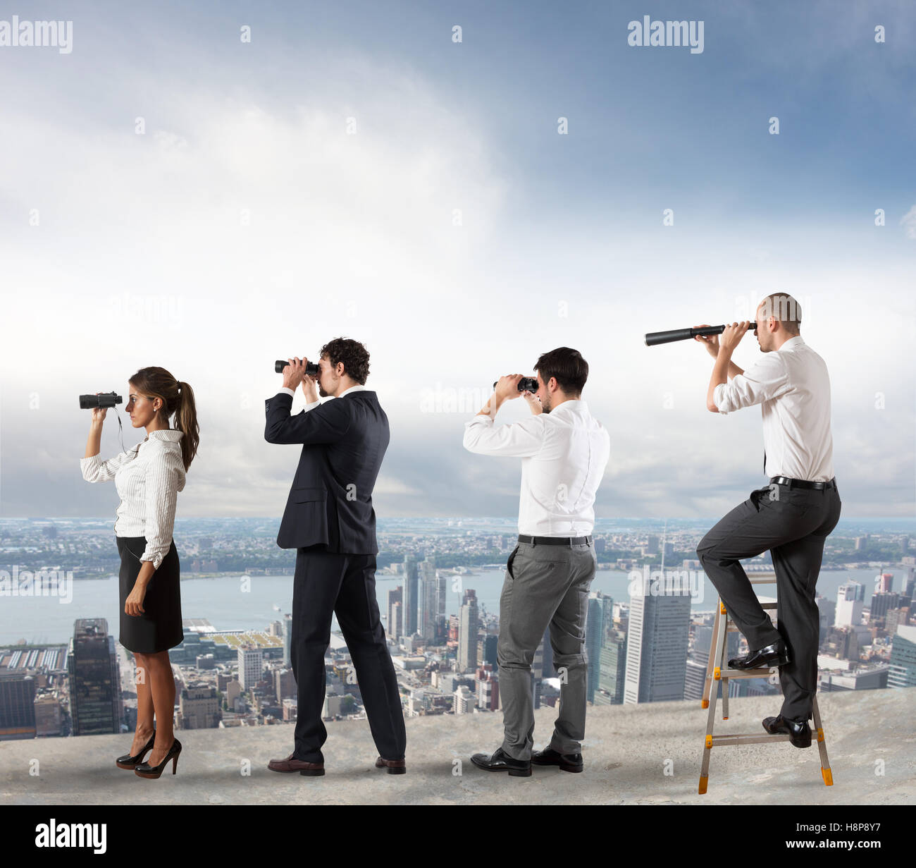 Business people looking to the future - Stock Image