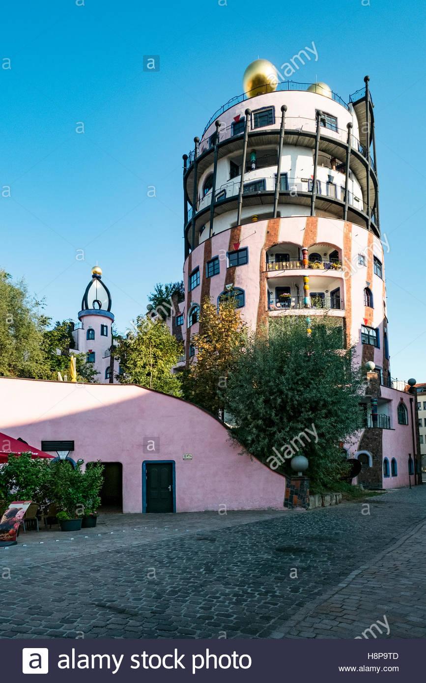 Grüne Zitadelle hotel in Magdeburg, Germany, was the last design project of Friedensreich Regentag Dunkelbunt Hundertwasser. Stock Photo