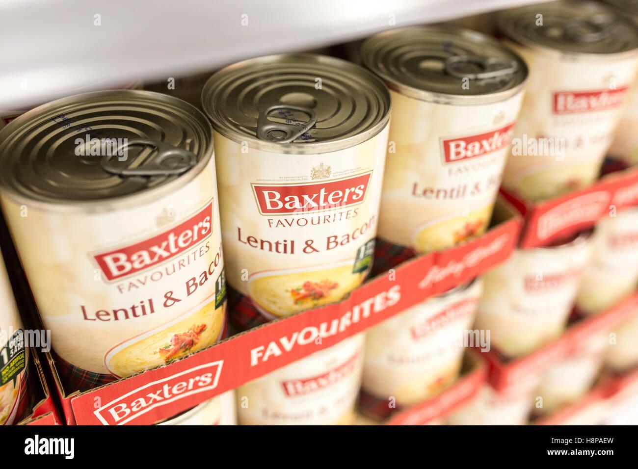 tins of Baxters soup on supermarket shelves - Stock Image