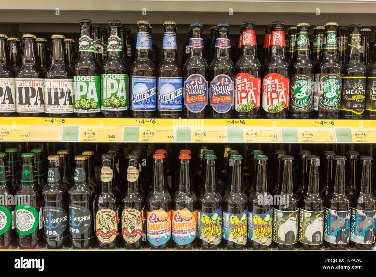 Craft beers on sale inside a British supermarket store - Stock Image
