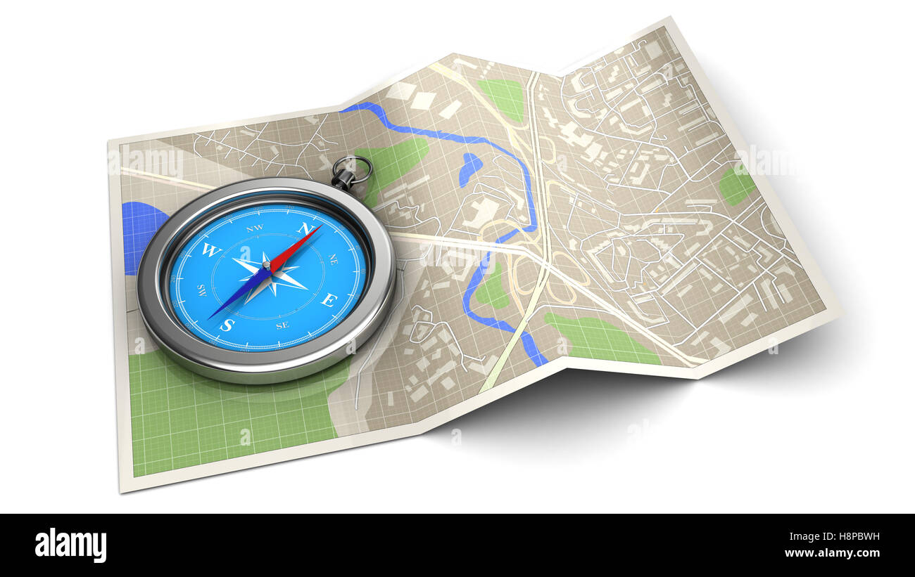 3d illustration of map with compass - navigation concept or icon - Stock Image