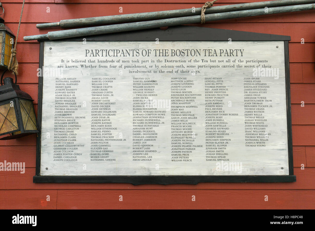 Boston Tea Party Museum. List of Participants of the Boston Tea Party - Stock Image