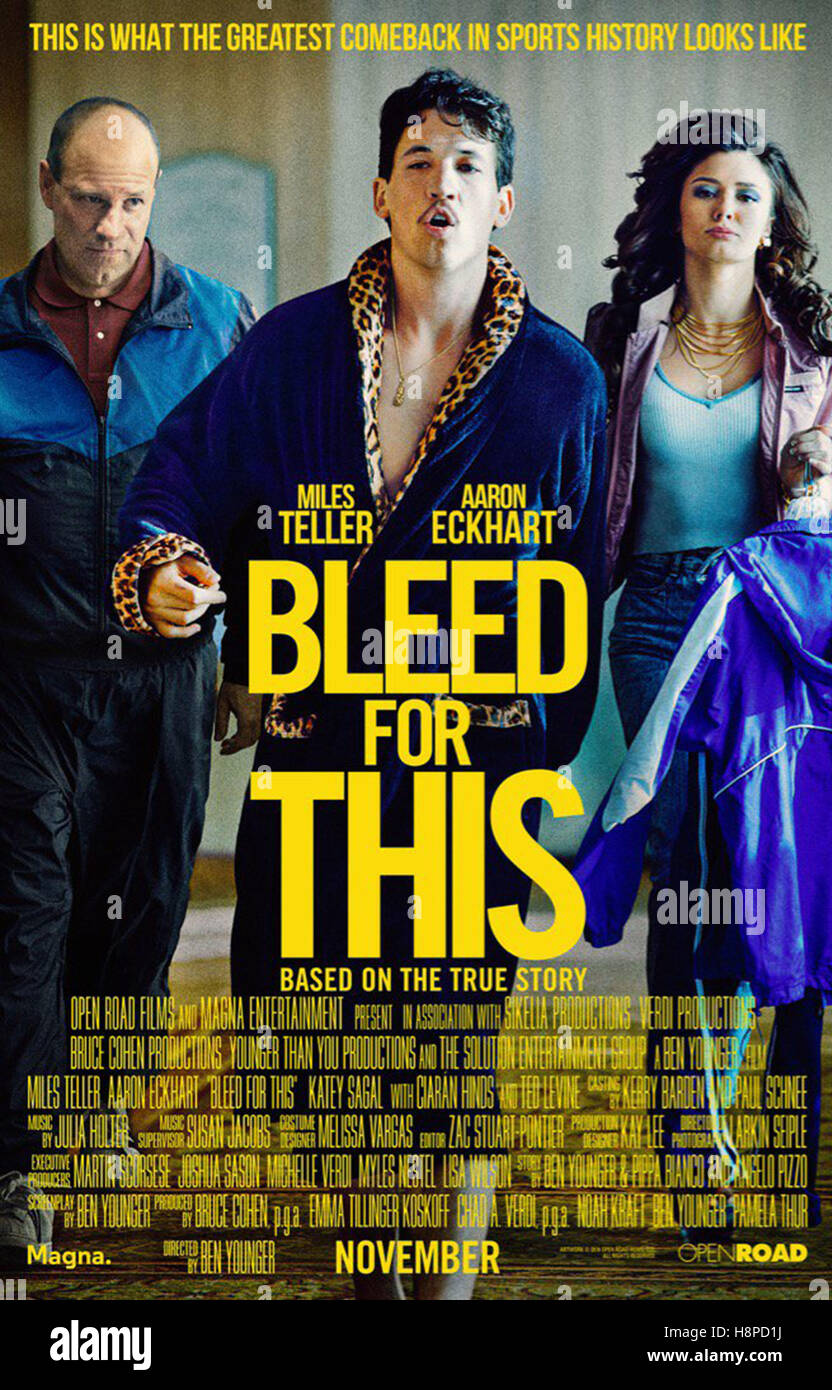 BLEED FOR THIS (2016)  MILES TELLER  BEN YOUNGER (DIR)  MOVIESTORE COLLECTION LTD - Stock Image