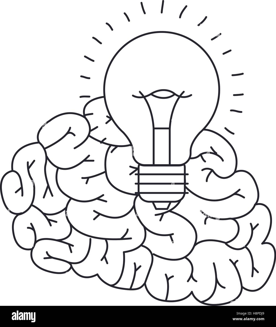 Brain and bulb draw icon big idea creativity imagination and stock brain and bulb draw icon big idea creativity imagination and inspiration theme isolated design vector illustration ccuart Image collections