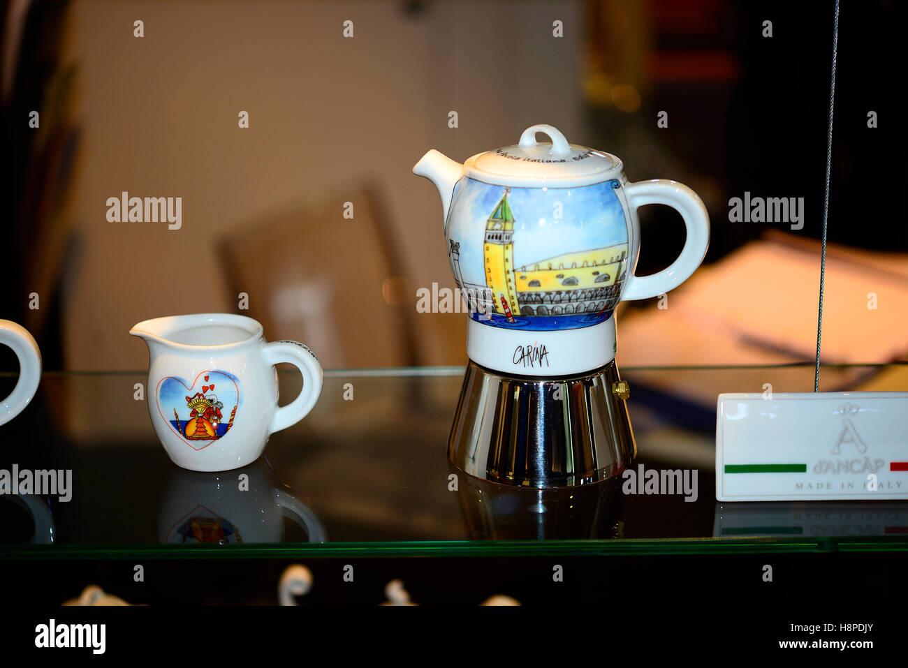 Italy Trieste Friuli V.G. Triestespresso Expo Coffee Exhibition A decorated ceramic espresso machine - Stock Image