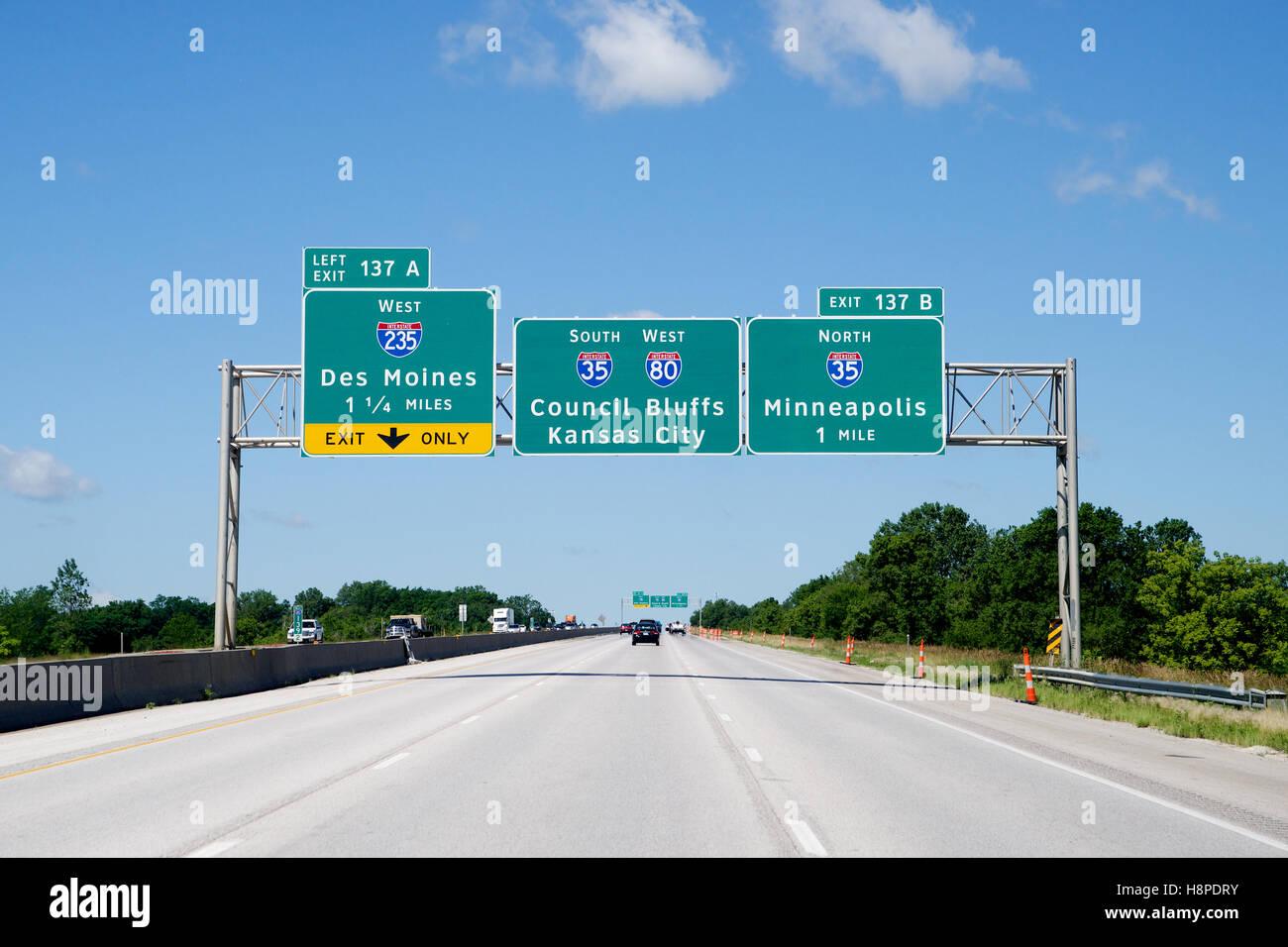 Highway Sign on Interstate 80 Westbound, Iowa, USA Stock Photo